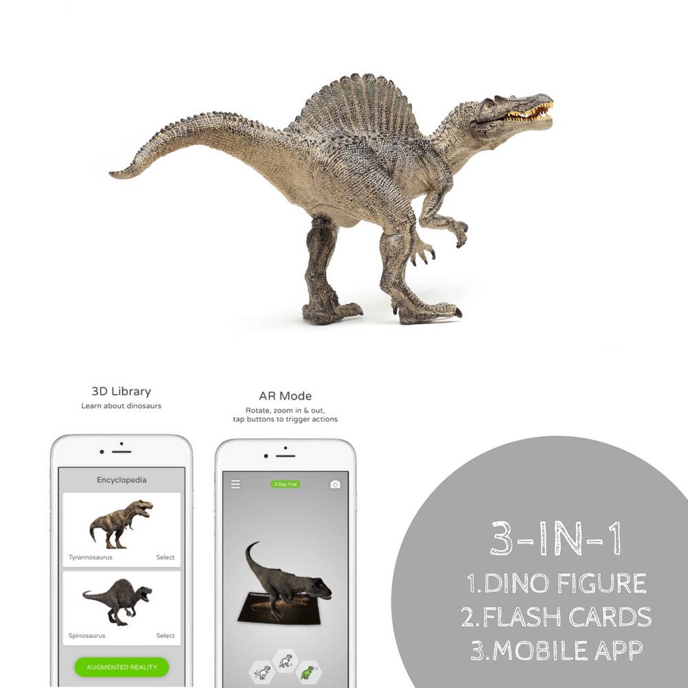 Spinosaurus Action Figure And Ar Flashcards Set Lifeliko Giant Flashcard Animals 9